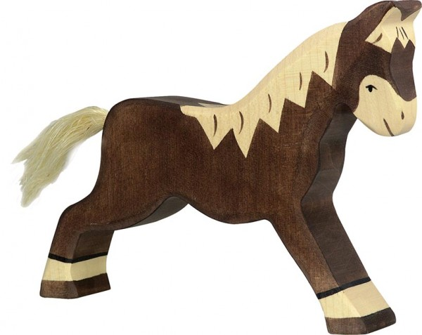 Holztiger Pferd laufend dunkelbraun