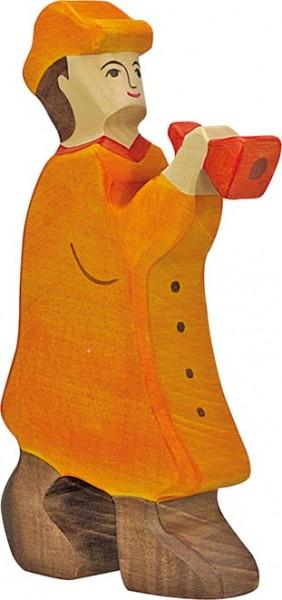 Holztiger Hirte mit Flöte