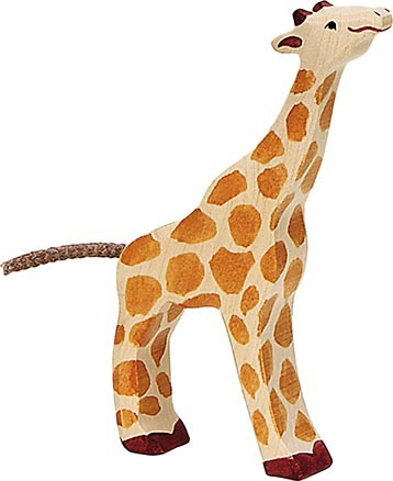 Holztiger Giraffe klein fressend