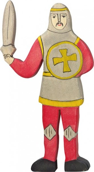 Holztiger Ritter kämpfend rot
