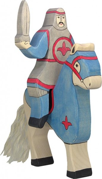 Holztiger Blauer Ritter reitend (ohne Pferd)