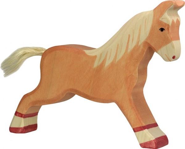 Holztiger Pferd laufend hellbraun
