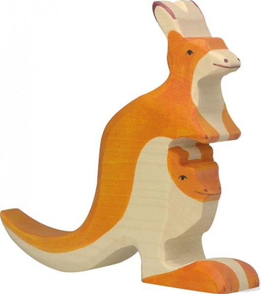 Holztiger Känguruh mit Jungem