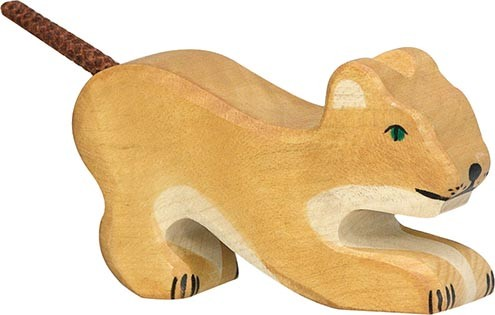 Holztiger Löwe klein spielend