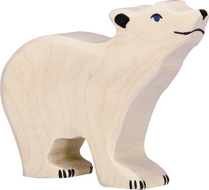 Holztiger Eisbär klein Kopf hoch