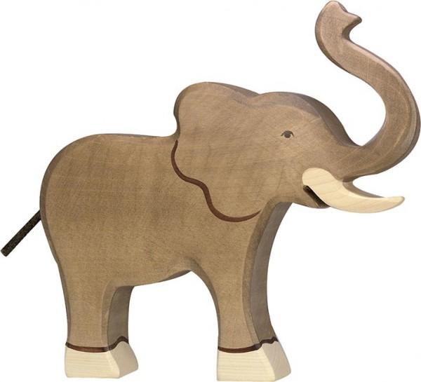 Holztiger Elefant Rüssel hoch