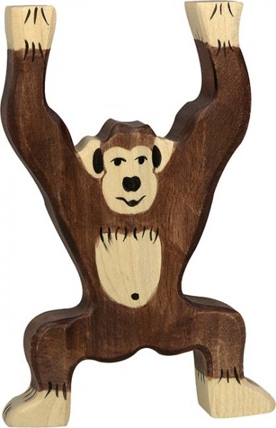 Holztiger Schimpanse stehend
