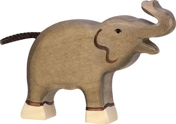 Holztiger Elefant klein Rüssel hoch