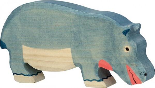 Holztiger Nilpferd fressend
