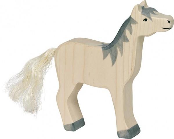 Holztiger Pferd Kopf hoch graue Mähne