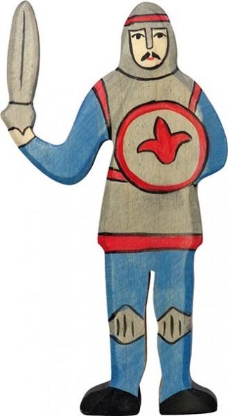 Holztiger Ritter kämpfend blau